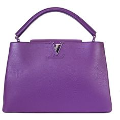 Pre-Owned Louis Vuitton Capucines MM Handbag Tote Violet ($4,180) ❤ liked on Polyvore featuring bags, handbags, violet, leather tote purse, hand bags, tote handbags, leather totes and leather tote bags