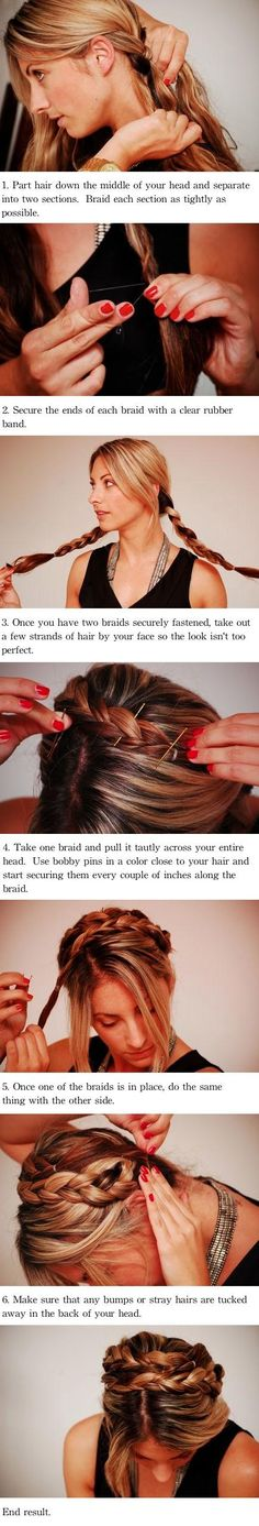 Braided Updo Tutorial. this is a good protective style for long blown-out/flat ironed natural hair.