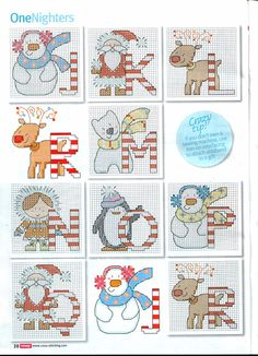 cross stitch alphabet Christmas natal punto de cruz noel point de croix