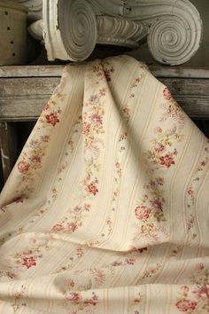 Beautifully faded with time ~ lovely feminine floral and stripe floral material ~ classic French design ~ c1900