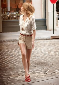 pastel outfit with red belt