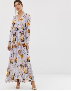 S v neck bold floral maxi dress. Shop today with free delivery and returns (Ts&Cs apply) with ASOS! Nike Free, Design Nike, Pop Fashion, Fashion Outfits, Night Gown Dress, Asos, Mode Online, Bell Sleeve Dress, Floral Maxi Dress