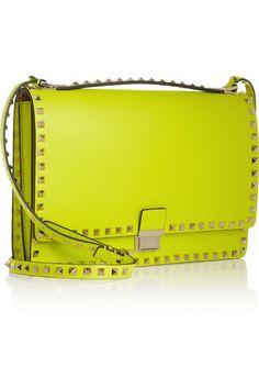 Valentino The Rockstud Flap neon leather shoulder bag NET-A-PORTER.COM