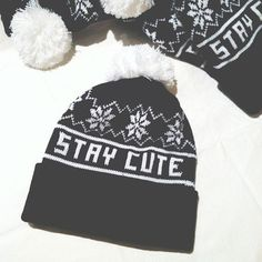 acolline's save of Stay Cute Snowflake Pom Beanie on Wanelo