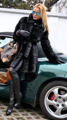 Short black mink coat