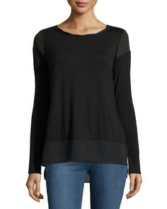 Laundry by Shelli Segal Long-Sleeve Twisted-Trim Top, Black, Women's, Size: M