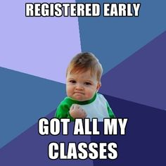 The earlier you register for classes, the better your chance for getting the classes you want, when you want them.