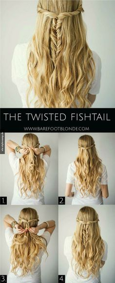 The Twisted Fishtail Hair Tutorial - Barefoot Blonde Waves in 15 minutes! Section hair into big sections then braid each in a loose braid. Run a flatiron over each braid, let them cool down, spra (Minutes Hairstyles Easy Hair) Down Hairstyles, Pretty Hairstyles, Braided Hairstyles, Wedding Hairstyles, Amazing Hairstyles, Braided Updo, Easy Diy Hairstyles, Summer Hairstyles, Elegant Hairstyles