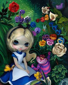 """""""Alice in the Garden"""" 16x20 Acrylic Painting $6400 - Original & Prints AVAILABLE at WonderGround Gallery, details here: http://www.strangeling.com/shop/alice-in-wonderland-art-prints/alice-in-the-garden/"""
