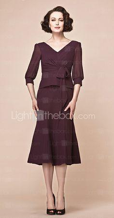 A-line V-neck Tea-length Chiffon Mother Of The Bride Dress