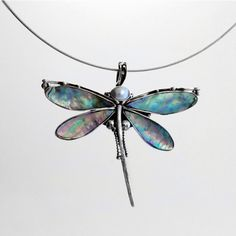 Necklace Dragonfly sterling silver  /Dragonfly pendant/ Handmade design dragonfly accessory by BijouteriaLena on Etsy
