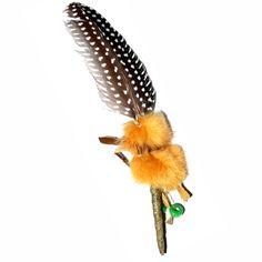 Räucherfeder 18-20 cm Perlhuhn mit Holzperlen - Räucherfeder - Cleopatra's Duft-Oase