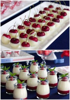 Chocolate dipped cherries, vanilla bean bavarois with raspberry coulis