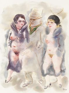 """George Grosz  (1893 Berlin - 1959 Berlin), Spaziergänger. (Um 1930.)  """"Watercolor and pen drawing in brown.  Signed lower right. Titled on verso by a hand other than that of the artist. On firm wove paper by PM Fabriano (with watermark). 60 x 47,7 cm (23,6 x 18,7 in), size of sheet. The work depicts the artist, his wife and her sister."""" [attribution from Ketterkunst.com]"""