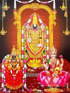 Swami Venkateswara With Tirupathi And Lakshmi