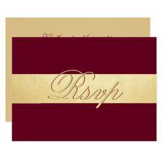 Personalized Elegant Fall Burgundy RSVP Wedding Card - elegant gifts gift ideas custom presents