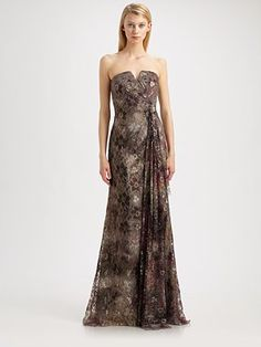 9f116ce6ac63a8 Badgley Mischka - Foiled Lace Gown. Saks Fifth AvenueBadgley ...
