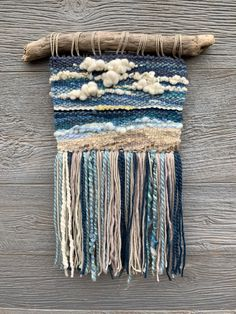 Large White and Orange Autumn 13 x 32 Inch Tapestry Weaving Wall Hanging with Lake Michigan Driftwood