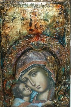 Religious Icons, Religious Art, Different Kinds Of Art, Blessed Mother Mary, Madonna And Child, Adam And Eve, Holy Family, Assemblage Art, Orthodox Icons