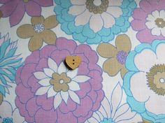 Pretty Vintage Fabric - AQUA and PURPLE FLOWERS - A 'Small' piece of Vintage Loveliness perfect for Little Projects. $2.00, via Etsy.