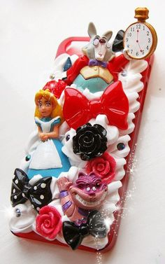 cutekawaii 'Alice in Wonderland' Whipped Cream Frosting Kawaii Decoden Phone Case - ANY PHONE MODEL - please read description Decoden Phone Case, Kawaii Phone Case, Disney Phone Cases, Diy Phone Case, Cute Cases, Cute Phone Cases, Iphone Cases, Biscuit, Kawaii Diy