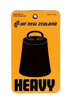 Weight Tag Heavy, Air New Zealand, 1970s. Via sheaff
