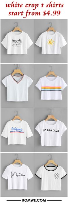 white crop t shirts from $4.99