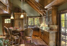Traditional Home Log Cabin Kitchen Design Ideas, Pictures, Remodel, and Decor - page 50