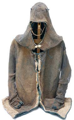 Japanese Ed0 Period kusari katabira and kusari zukin (mail armor jacket and hood).