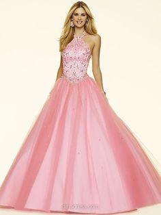 Princess Pink Satin Tulle Crystal Detailing Open Back Halter Prom Dresses #020100097