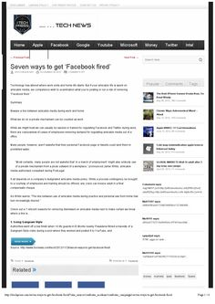 Tech News: Seven ways to get 'Facebook fired'  For further information please contact www.podlegal.com.au
