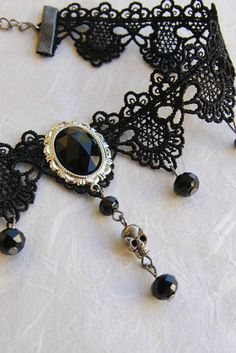 Skull Necklace, Halloween Necklace, Goth Jewelry, Gothic Choker, Black Choker, Victorian Choker, Black Lace Choker, Day of the Dead, Memento Mori, Gothic Witch, Black Wicca Choker, Gothic Gifts, Goth Gifts, Goth Girl Gifts, Halloween, Vampire Necklace