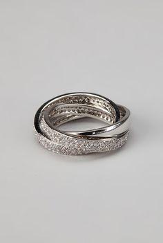 Rhodium & Cubic Zirconia Eternity Ring