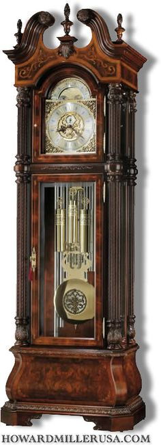 Howard Miller J. Miller II Tubular Chimes Grandfather Clock model is Howard Miller's highest-end traditional grandfather clock with a 9 tube tubular chime mechanical German Kieninger movement. Reach out to us at to learn more! Mantel Clocks, Old Clocks, Antique Clocks, Cuckoo Clocks, Howard Miller, Walnut Burl, Beveled Glass, Antique Furniture, Dining Furniture