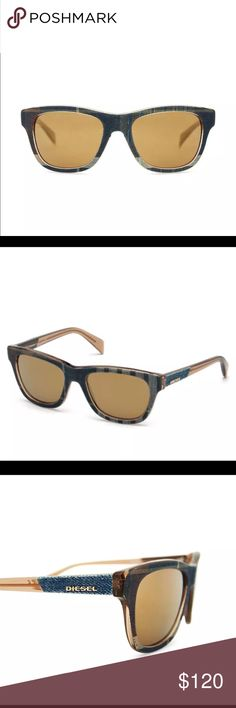 New Diesel Denim Sunglasses w/brown mirror lenses Brand new  100% authentic Diesel  Never used  Diesel Denim sunglasses  Stylish blue jean plaid Denim  No scratches on lenses  Retails for $159.95  Brown mirror lenses  Made in Italy  #denimeye DL 0111 92g  Without box or case comes with a sunglass sleeve Diesel Accessories Sunglasses