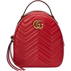 Gucci Gg Marmont Quilted Leather Backpack ($1,550) ❤ liked on Polyvore featuring bags, backpacks, handbags, red, women, pocket bag, quilted leather backpack, red backpack, backpack bags and gucci backpack