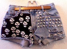 skulls and studs | Skulls and studs love | Throwback retro shorts