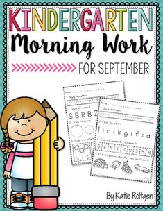 "Kindergarten Morning Work - September - Here you get 25 high quality, Kindergarten friendly printable worksheet ages. Skills include letter recognition, sounds, tracing, writing, first sound isolation, rhyming, syllables, short vowels, number recognition 0-10, number tracing & writing, 2D shapes, 1:1 correspondence, counting and answering ""How many?"", missing numbers to 10, comparing sets, and draw more to make five. Great for independence, review, and routine! Grab them today!"
