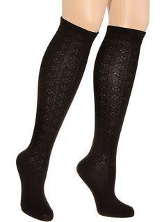 Black Diamond Pointelle Knee High Socks at PLASTICLAND