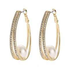 TOP popular pearl earrings With rhinestone crystal circle earrings Simple earrings big circle gold hoop earrings for women gift Simple Earrings, Round Earrings, Gold Hoop Earrings, Statement Earrings, Women's Earrings, Crystal Rhinestone, Wedding Jewelry, Gifts For Women, Vintage Jewelry