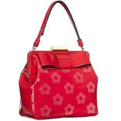 Orla Kiely AW13 handbags Pretty Punched Flower Patent Holly - FashionFilmsNYC.com