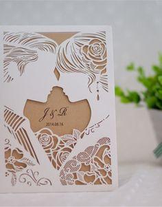 invitación de boda modelo Love color marfil brillante
