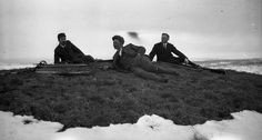 Relaxing after skiing, at easter at Høgåsen / Storland in 1920. Norway.