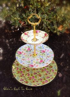 3 Tier Chintz Cake Stand Tea Party Garden by HelensRoyalTeaHouse
