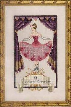 Nine Ladies Dancing by Nora Corbett - Cross Stitch Kits & Patterns