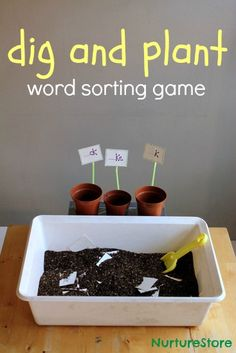 Fun garden-theme word sorting game - plus a bonus colour sorting idea!