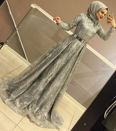 Long Sleeve Party Dresses With Hijab Muslim Prom Dress, Hijab Prom Dress, Hijab Gown, Hijab Evening Dress, Muslim Wedding Dresses, Dress Outfits, Evening Dresses, Fashion Dresses, Gown With Hijab