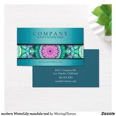 Shop modern WaterLily mandala teal Business Card created by WavingFlames. Art Business Cards, Hipster Art, Water Lilies, Colorful Flowers, New Art, Flower Art, Mandala, Logo Design, Teal