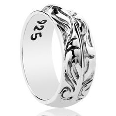 925 Sterling Silver Gothic Feather Carving Antique Ring Gift for Men