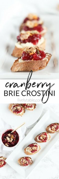 Cranberry Brie Crostini with toasted walnuts are a fun and festive appetizer to serve this holiday season! They are delicious and easy to make for Thanksgiving or Christmas! (#vegetarian)| #appetizers #holiday #cranberry #brie #christmas | via livelytable.com